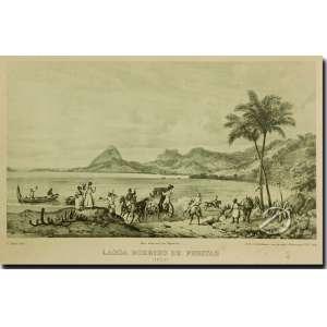 V. Adam Lagoa Rodrigo de Freitas 1823. Litografia, 20,5 x 23 cm, desenhada por Adam a partir do original de J. M. Rugendas e gravada por Engelmann - Paris. França, séc. XIX.
