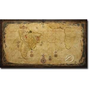 Placa de madeira pintada representando Mapa de Antonio Sanches de 1641; 11 x 62 cm, Brasil, séc. XX.