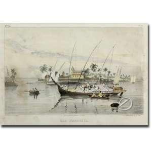 Rugendas J.M. Ilia de Itaparica. Litografia aquarelada, 22 x 35 cm, gravada por Sabatier e litografadapor Engelmann, Paris. França, séc. XIX.