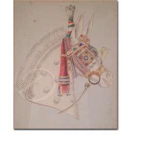 Autoria Desconhecida. Cabeça de Cavalo. Aquarela, 29,5 x 23,5 cm.