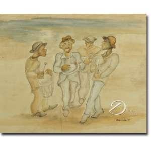 Antonio Gomide. - Sambistas. Aquarela, 30 x 37 cm. Assinada e datada embaixo à direita: Gomide 57.