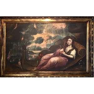 Escola Sul-americana - Séc. XVIII. - Santa Maria Madalena. Óleo sobre tela, 94 x 156 cm. Moldura dourada não original.