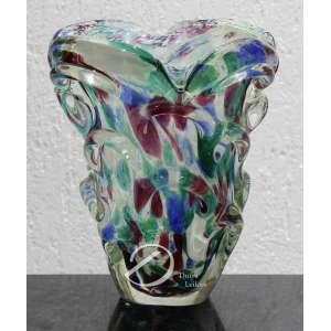 Floreira de vidro de Murano série cactos fantasia; 20 cm de altura e 18 cm de boca. Itália séc. XX c. 1950. Apresenta desgastes na base.