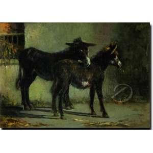 Filippo Palizze. - Des Anes. Óleo sobre madeira, 28,4 x 39,3 cm. Assinado embaixo à esquerda: F. Palizzi.
