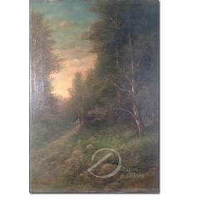 Autor não identificado. - Floresta. Óleo sobre tela, 70 x 50 cm. Assinado embaixo à direita.