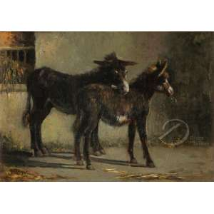 Filippo Palizze - Des Anes. Óleo sobre madeira, 28,4 x 39,3 cm. Assinado embaixo à esquerda: F. Palizzi.