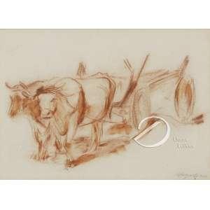 Lasar Segal - Carro de Boi. Sanguínea, 20,5 x 29 cm. Assinado e datado embaixo à direita: Segall 1916.