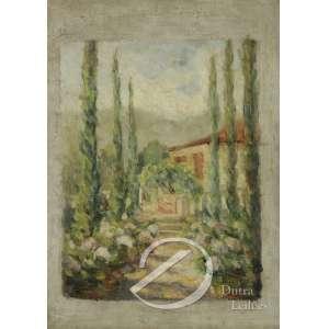 Humberto Rosa. - Casario com Jardim. Óleo sobre tela, 70,5 x 40,3 cm. Assinado embaixo à esquerda: H. Rosa. No verso a inscrição: 16/8/39.