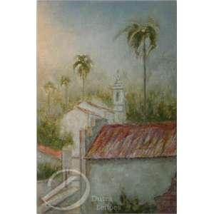 Enjoi - Igreja com Coqueiros. Óleo sobre tela, 79 x 58,5 cm. Assinado embaixo à esquerda: Enjoi.