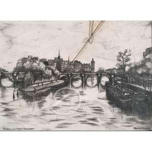 Paris - Le Vert Galant. Litografia, 9 x 12 cm. Embaixo à direita: Burin Original. -