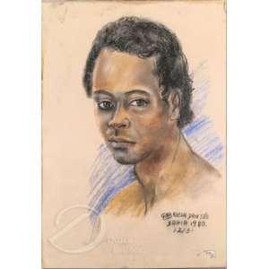 Gabriela Dantés - Rapaz. Desenho a crayon, 48 x 33 cm. Assinado, situado e datado embaixo à direita: Dantés Bahia 1980 /12/3. O vidro que protege o desenho está quebrado. - R$ 100,00