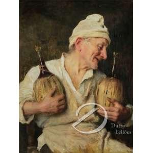 Giovanni Boldini - Il Buon Toscano. Óleo sobre tela, 78,5 x 59,5 cm. Assinado e datado em cima à esquerda: G. Boldini19...ilegível por oxidação do verniz, necessitando de limpeza. - R$ 120.000,00