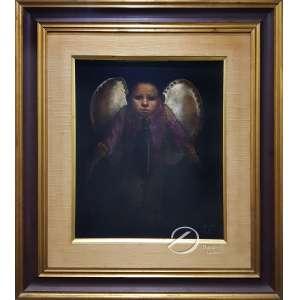 Mario Gruber - Menino Alado com Peixes. Óleo sobre tela colado em madeira, 54,5 x 45,5 cm. Assinado e datado embaixo à direita: Gruber/ 80. No verso: Exposição 81/82/Gruber/11/06/80.