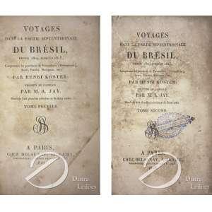 Henri Koster - Voyages dans la partie septentrionale du Bresil 1809 - 1815, 2 volumes, 374 pp +512 pp 8 - pranchas e 2 mapas, impressos por Chez Delounay. Paris, 1818. - Volume 2 capa solta e picos de bichos, falta lombada.