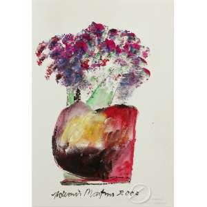 Aldemir Martins - Vaso com Flores. Acrílico sobre cartão, 31,5 x 21,5 cm. Assinado e datado embaixo no centro: Aldemir Martins 2000.