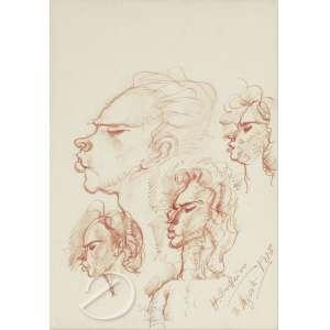 Cavalleiro, Henrique Campos - Estudo de Cabeças Femininas. Desenho a sanguínea, 30 x 21 cm. Assinado e datado embaixo à direita: H. Cavalleiro / 3-agosto-1958.