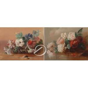Bellottey. - Pendant - Flores. Óleo sobre seda, 25,5 x 33,5 cm. Um assinado embaixo à direita: Bellotey. - Apresenta pequeno rompimento de trama.