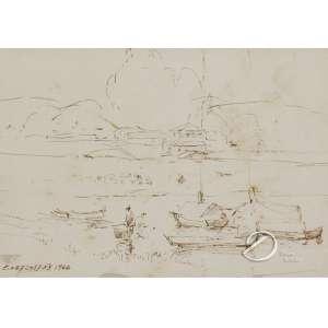 Oehlmeyer, Edgar - Marinha com Personagens. Desenho, 13,5 x 19,3 cm. Assinado e datado embaixo à esquerda: E. Oehlmeyer 1966.