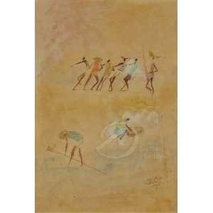 Carybé - Hector Julio Páride Bernabó - Figuras. Vinil, 45,5 x 31 cm. Dedicado, assinado e datado embaixo à direita: Parea Ro de Belinha / Carybe / 72.