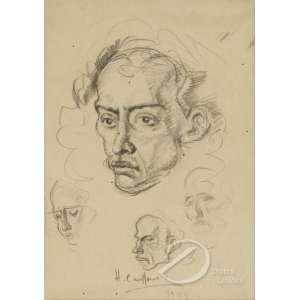 Cavalleiro, Henrique Campos - Estudo de Rostos de Homem. Desenho a crayon, 30 x 21 cm. Assinado e datado embaixo no centro: H. Cavalleiro / 1954.