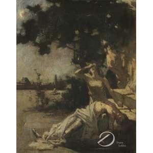 Edgar Maxence - Lamuria. Óleo sobre tela, 39,5 x 30 cm. Assinado e datado embaixo à esquerda: E. Maxence 1892.