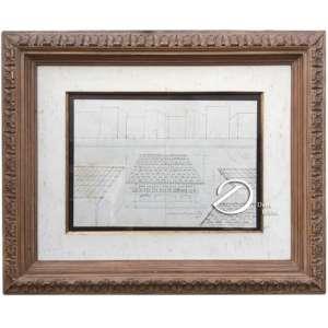 Manuel Martins - (Grupo Santa Helena) - Composição Arquitetônica. Desenho, 44 x 52 cm (total), 22x 30 cm (papel). Assinado e datado 76. Algum amarelado no papel.