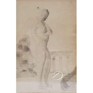 Ismael Nery - Figura masculina. Lápis preto e aquarela, monogramado em cima à direita: IN; 26 x 17 cm. - Origem: ex-coleção Maria Helena e Eldino F. Brancante.