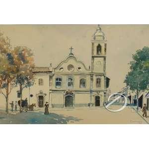 Campão, José Marques. - Largo de São Bento. Aquarela, 22 x 33 cm. Assinado e datado embaixo à direita: Campão / 940. Vidro quebrado.