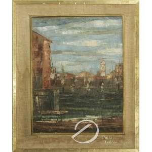 José Paulo da Fonseca. - Paisagem com Igreja. Óleo sobre tela, 34 x 27 cm. Assinado embaixo á direita: Paulo.