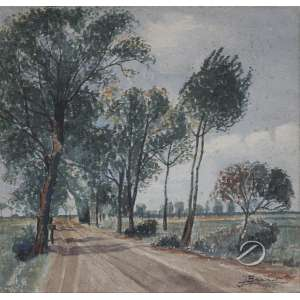 Branet, J. - Estrada Arborizada. Aquarela, 32 x 32 cm. Assinado e datado embaixo à direita: - J. Branet /1945.