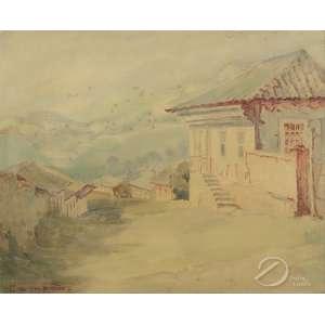 José Marques Campão - Paisagem com Casas. Aquarela sobre cartão colado em placa, 38,5 x 46 cm. Assinado embaixo à esquerda: Campão.