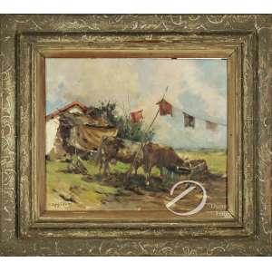 Oppido, G. - Paisagem com Vacas. Óleo sobre tela, 37,5 x 45,5 cm. Assinado embaixo à esquerda: G. Oppido.