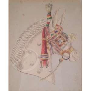 Autoria não identificada - Cabeça de Cavalo. Aquarela, 29,5 x 23,5 cm.