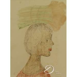 Graciano, Clóvis. - Mulher com Feixe de Flores na Cabeça. Monotipia, 56 x 41 cm. Assinado embaixo à direita: Graciano.