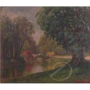Correa Costa, A. - Parque com Riacho e Árvores. Óleo sobre tela, 26 x 33 cm. Assinado embaixo à direita: A. Correa Costa. Apresenta descascados no canto superior direito.