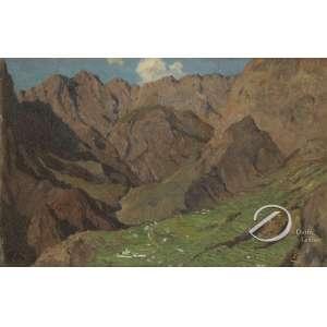 Paul Koster (1855 - 1931). - Paisagem da Ilha da Madeira. Óleo sobre madeira, 27 x 41,5 cm. Monogramado embaixo à direita: PK. Sem moldura.