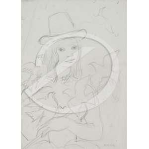 Noêmia Mourão - Moça com Aves. Desenho a lápis preto, 24 x 17 cm. Assinado embaixo à direita: Noemia.