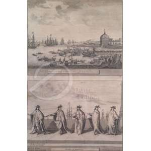 Autoria Desconhecida - Embarquement de l Princesse de Portugal Catherine e Chevaliers de Portugal. Duas litografias em uma só chapa; 25 x 26 cm.