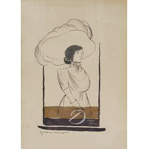 Clóvis Graciano - Figura Feminina com Chapéu. Nanquim e guache, 20,5 x 15 cm. Assinado embaixo à esquerda: Graciano.