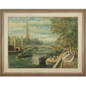 Angelo Cannone. - Rio Sena - Paris. Óleo sobre tela, 60 x 81 cm. Assinado, localizado e datado embaixo à direita: Angelo Cannone / Paris 55. Reintelado.