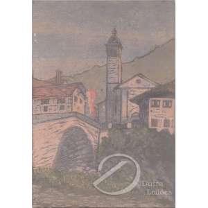 Autoria não identificada - Paisagem com Igreja e Ponte. Aquarela, 25,5 x 17,5 cm. Assinatura não legível embaixo à direita.