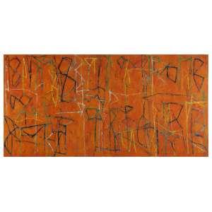 Gonçalo Ivo. - Sertão. Óleo sobre tela, 97 x 195 cm. Assinado no reverso que, além da assinatura tem as seguintes inscrições na tela: à esquerda: 97 x 195; no centro: Sertão; à direita: ost/ Gonçalo Ivo/ 1999/ setembro/ Paris. Adquirido na Galeria A. Schwartz em 2001.