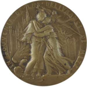 1918.00.00 - EN SOUVENIR DE LOA DELIVRANCE DE METZ / METZ A SE3S LIBERATEURS 19 NOVEMBRE 1918. - Bronze - 68 mm - 112 g.