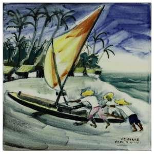 Mario Zanini - Barco na Praia. Pintura sobre azulejo, 15 cm de lados. Assinado e datado embaixo à direita: Osirarte / Exec. Zanini.