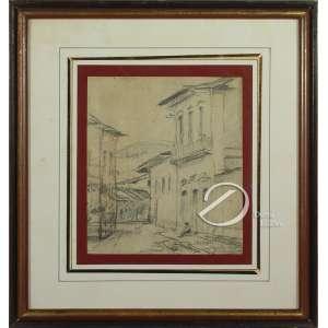 Oehlmeyer, Edgar - Parati. Desenho, 17,5 x 15 cm. Localizado, datado e assinado embaixo: Parati / Junho 1955/ E. Oehlmeyer.