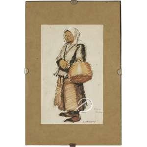 Oehlmeyer, Edgar. - Mulher com Cesto. Técnica mista sobre papel, 21 x 13 cm. Assinado embaixo à direita: E. Oehlmeyer.