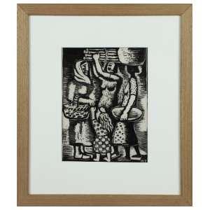 Mario Zanini. - Mulheres e Criança. Linogravura, 20 cm x 15 cm. Monogramado na chapa abaixo à direita: MZ.