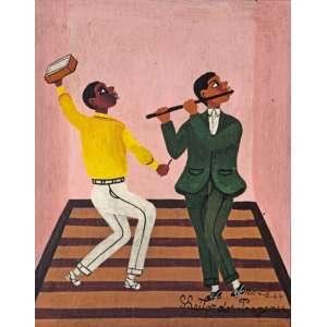 Heitor dos Prazeres<br />O flautista e o ritmista. Óleo sobre placa, 24x19 cm, 1964, A.C.I.D.