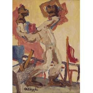 Sigaud, Eugenio de Proença<br />Rebocando. Duco sobre placa, 23x17 cm, 1973, A.C.I.E.