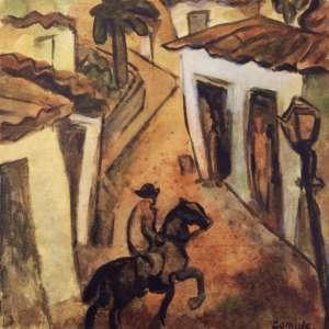 Antonio Gomide<br />Paisagem. Aquarela sobre papel, 24x24 cm, A.C.I.D.